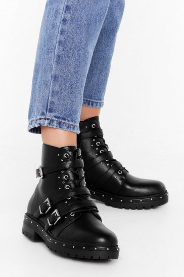 Black Buck 'Em All Faux Leather Boots