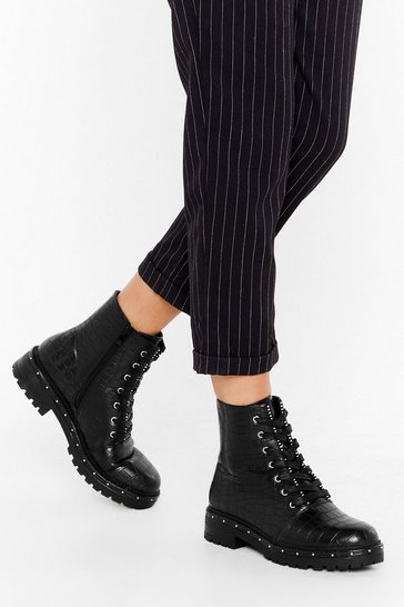 Black Stud Times Ahead Faux Leather Croc Boots