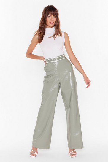 Womens Green Vinyl-y Found You Wide-Leg Pants