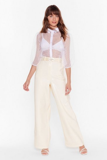 Womens Nude Vinyl-y Found You Wide-Leg Pants