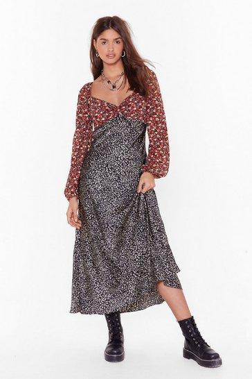 Black Mix Us a Drink Floral Leopard Maxi Dress