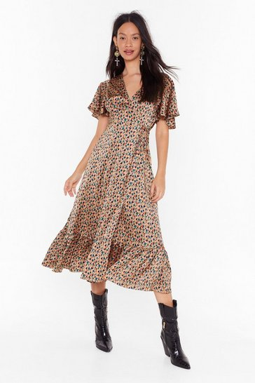 Womens Caramel Work of Art Abstract Midi Dress
