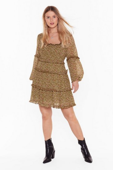 Sage Wild Flower Floral Plus Mini Dress