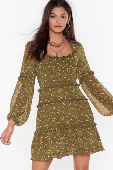 Womens Sage Wild Flower Floral Mini Dress
