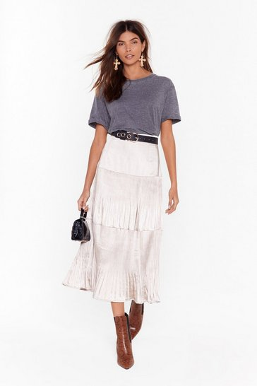 Womens Grey Get Me Outta Tier Satin Midi Skirt