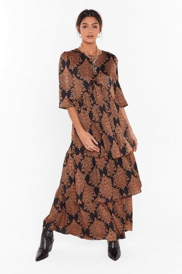 Womens Black Hold Back the Tiers Floral Maxi Dress
