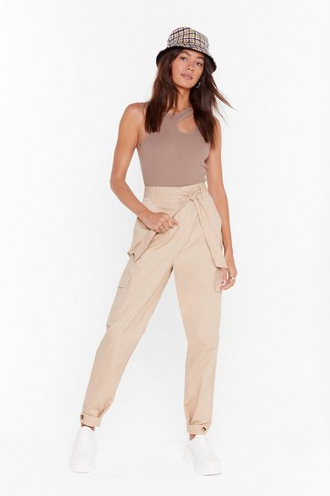 Stone You Can Tie and Stop Us High-Waisted Cargo Pants