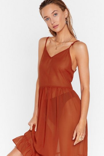 Burnt orange Cover-Up Maxi Dress with Ruffle Design at Skirt