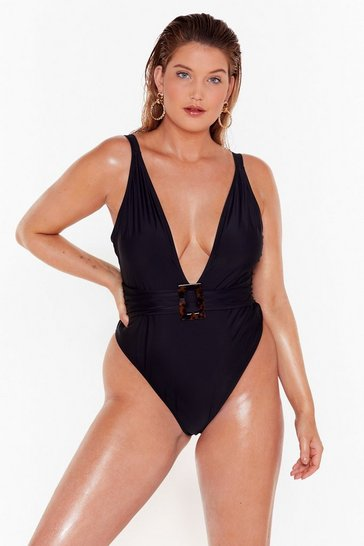 Black Deep Breath Plus Plunging Swimsuit