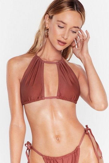 Brown Pool Moves Halter High-Waisted Bikini Set