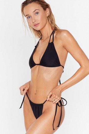Black 'Tis the Sea-son Strappy Triangle Bikini Set