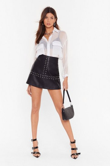 Black You Stud Know By Now Faux Leather Mini Skirt