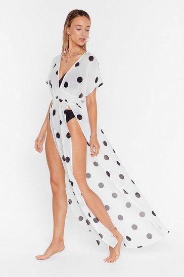 Cream I'm Dot Shady Cover-Up Maxi Dress