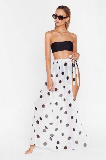 Cream I'm Dot Shady Cover-Up Maxi Skirt