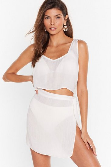 Cream Beach Please Cover-Up Crop Top and Skirt Set