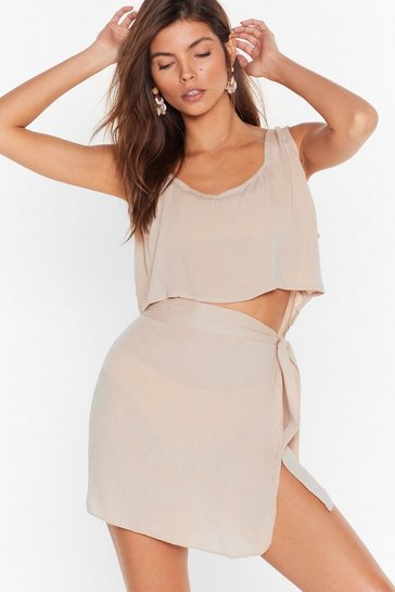 Stone Beach Please Cover-Up Crop Top and Skirt Set