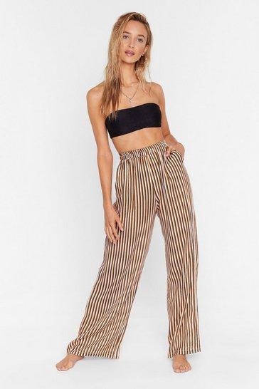 Mustard Straight to the Beach Striped Cover-Up Pants