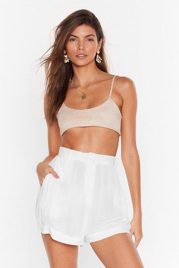 Cream Vacation Mode High-Waisted Shorts