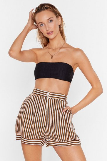 Mustard Our Stripe of Vacay High-Waisted Cover-Up Shorts