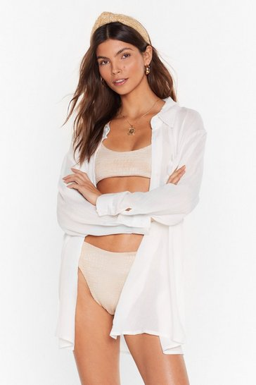 Cream Vacay Mode Relaxed Cover-Up Shirt