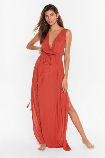 Burnt orange Beach You to It Cover-Up Maxi Dress