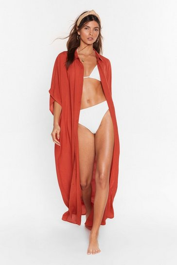 Burnt orange Here Comes the Sun Maxi Cover-Up Dress