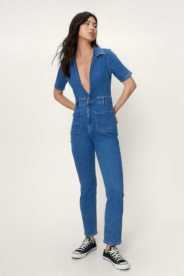 Blue Deep V Neck Denim Boilersuit