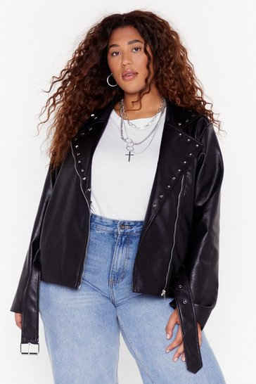 Black Stud Girl Plus Faux Leather Jacket