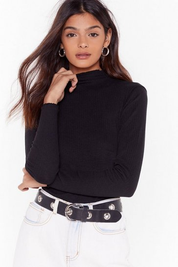 Black Check Rib Out Ruffle High Neck Bodysuit