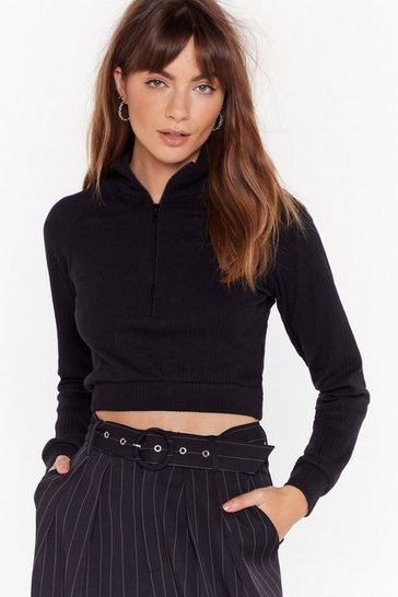 Womens Black Got Zip Where We Want Zip High Neck Ribbed Top