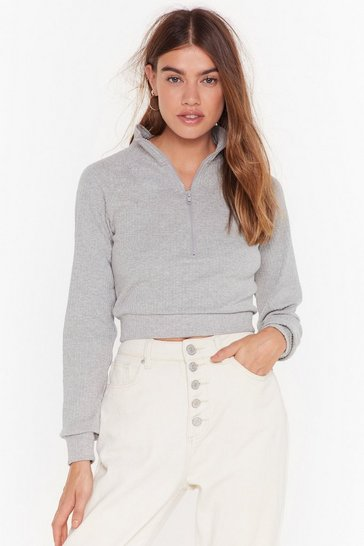 Womens Grey Got Zip Where We Want Zip High Neck Ribbed Top
