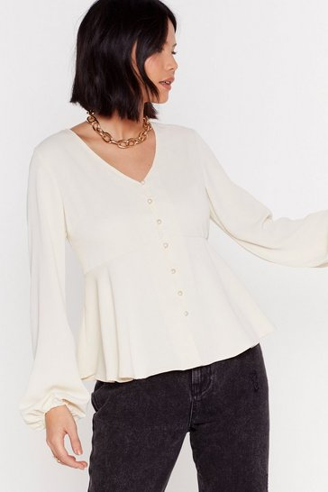 Cream Button a Serious Note Relaxed Button-Down Blouse