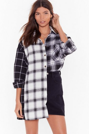 Womens Black Compare and Contrast Check Longline Shirt