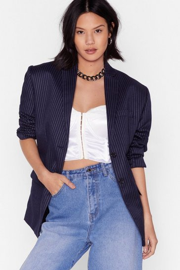 Blazer boyfriend à rayures If I Was Your Boyfriend, Navy
