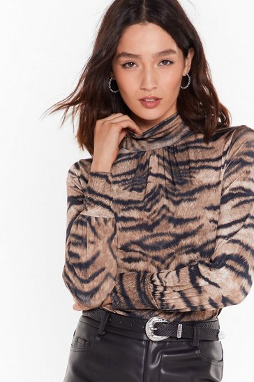 Womens Brown Ready to Roar Tiger High-Neck Top