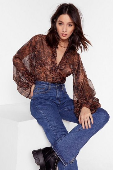 Brown All I'm Sheer-ing Leopard Balloon Sleeve Blouse