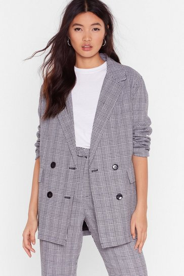 Womens Grey We Plaid the Game Oversized Check Blazer