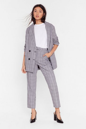Womens Grey We Plaid the Game Check Tapered Pants