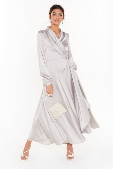 Silver Hey Girl What's Satin-ing Maxi Wrap Dress