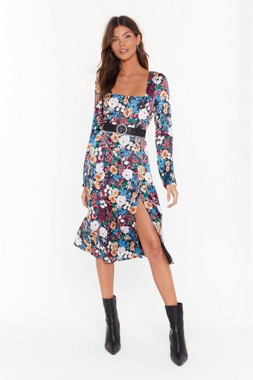 Black Best Buds Floral Midi Dress