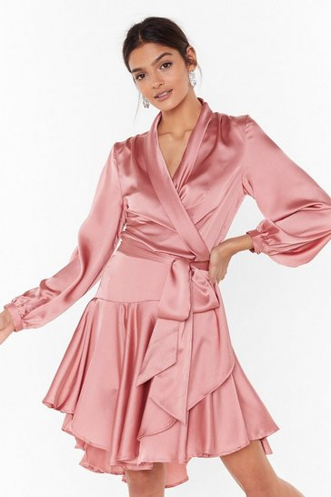 Womens Pink Hey Girl What's Satin-ing Wrap Dress