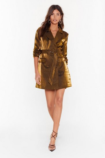 Gold And the Shimmer is Mini Blazer Dress