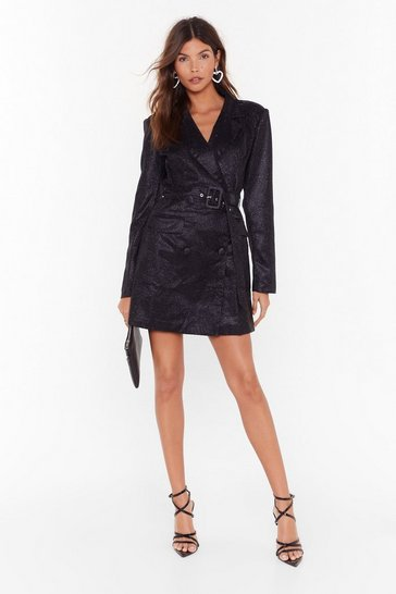Womens Black In Your Dreams Glitter Blazer Dress