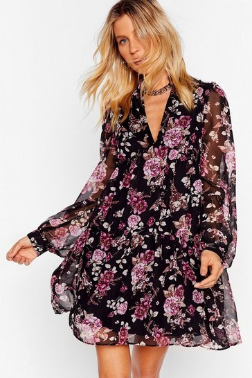 Black Wish You Were Tier Floral Mini Dress