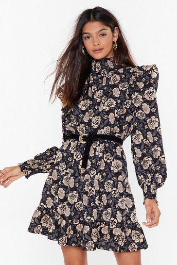 Navy Floral Long Sleeve Ruffle Shoulder Mini Dress
