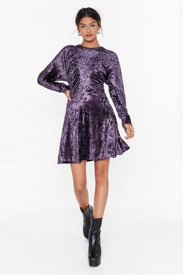 Womens Purple Totally Crushin' on You Velvet Mini Dress