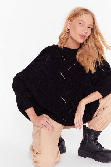 Womens Black Knit's a Fact Balloon Sleeve Sweater