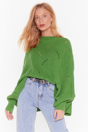 Womens Green Knit's a Fact Balloon Sleeve Sweater