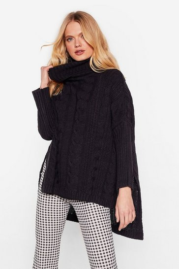 Womens Black That's How We Roll Cable Knit Sweater
