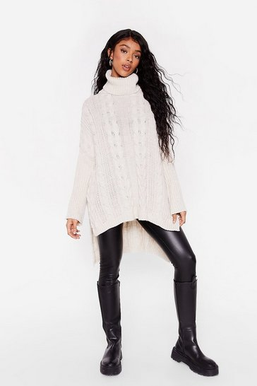 Womens Stone That's How We Roll Cable Knit Sweater